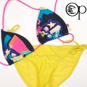 OP Bikini Pink & Yellow 90s Size 7/9 Medium